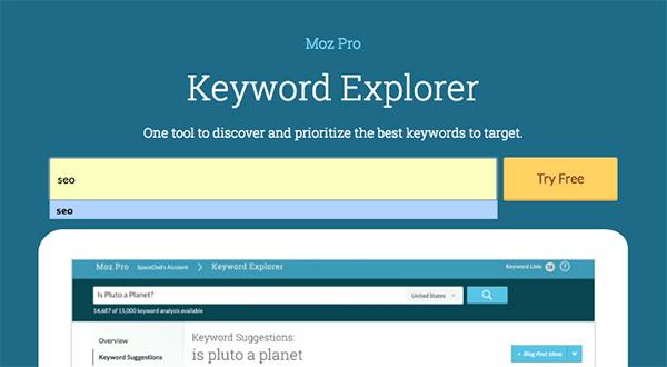 Moz's keyword Explorer