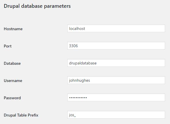 Set out Drupal parameters