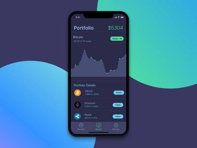 iPhone X design dark - Portfolio Screen for Cryptocurrency app