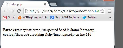 parse error syntax error